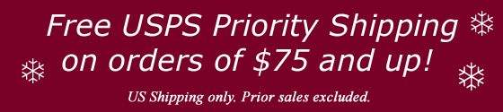 Free USPS Priority US Shipping with an order of $75 or more!